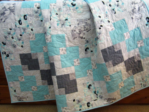 Lap Quilt Aqua and Gray Throw Quilt Homemade Patchwork Quilt