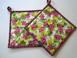Pot Holders Set of 2 - Grapes Potholders Housewares Kitchen