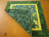 Floral Table Topper Handmade Quilted Tabletop Blue Green Yellow