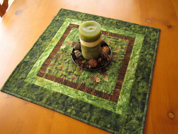 Table Topper Pine Cones and Pine Needles Handmade Quilted Home Decor Table Linen Mountain Decor