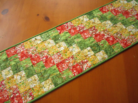 Handmade Quilted Table Runner Floral Table Decor Home Decor Diagonal Green Yellow Patchwork