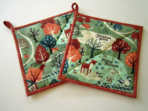 Pot Holders Set of 2 - Whimsical Forest Potholders