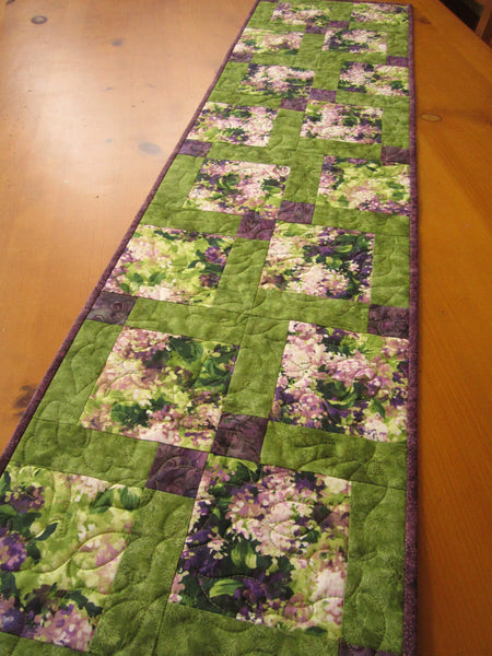 Floral Quilted Table Runner Purple and Green
