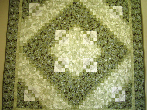 Handmade Patchwork Quilt Homemade Lap Quilt Home Decor Wall Quilt in Green