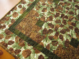 Quilted Table Topper Pine Cones and Pine Sprigs Handmade Patchwork Home Decor Cabin Decor Housewares Made in USA