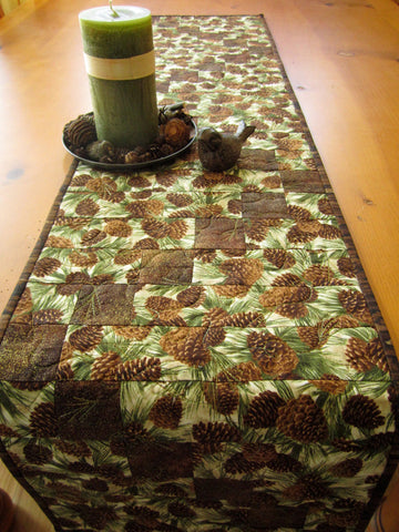 Table Runner Handmade Quilted with Pine Cones Mountain Cabin Decor Nature Home Made in USA