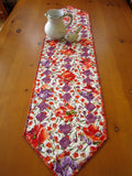 Table Runner Floral Handmade Quilted Home Decor Purple and Orange Flowers Table Decor
