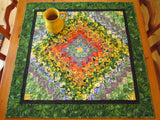 Quilted Table Topper Floral Handmade Wall Hanging Quilt Flowers Tabletop Home Decor