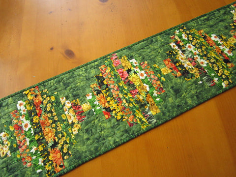 Table Runner Quilted Floral Handmade Home Decor Flowers