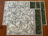 Pine Cones and Sprigs with Silver Metallic Placemats Set of Four