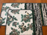 Placemats Set of 4 Winter Birds with Pine Cones