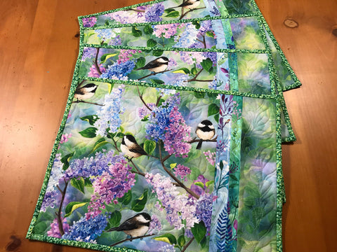 CUSTOM ORDER Placemats Lilacs and Birds