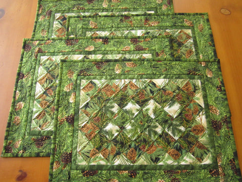 Pine Cone and Sprigs Placemats Set of Four