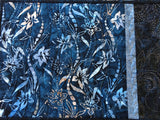 Place Mats Blue Batik Handmade Set of 4 Lily Flowers