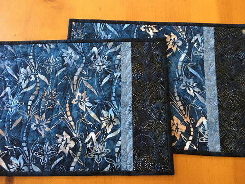 Place Mats Blue Batik Handmade Set of 2 Lily Flowers