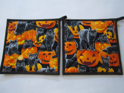 Pot Holders - Set of 2 Halloween Cats and Pumpkins Sale