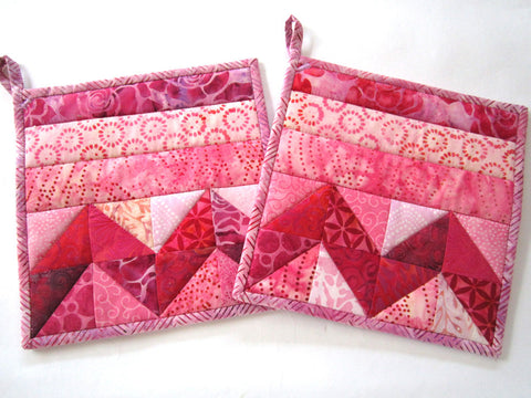 Pot Holders - Pink Batik Potholders - Set of 2