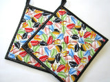 Pot Holders Set of 2 - Tea Cups Potholders
