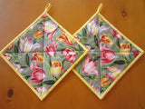 Pot Holders - Set of 2 Tulips, Potholders