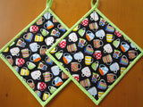 Pot Holders - Set of 2 Potholders with Coffee Mugs
