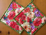 Bright Floral Potholders Set of Two