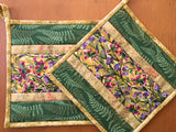Flowers and Fern Leaves Pot Holders Set of Two