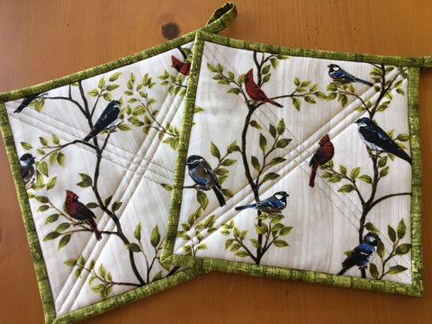 Wild Bird Potholders Set of Two