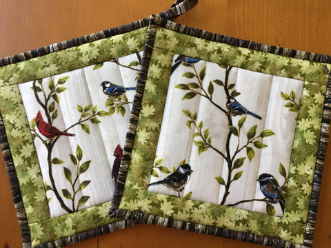 Potholders Set of Two Wild Birds and Leaves