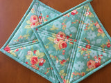Floral Pot Holders Set of Two Kitchen Decor