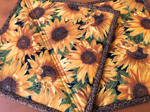 Pot Holders Sunflowers Handmade Kitchen Decor