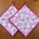 Potholders in Red and Pink Set of 2 Kitchen
