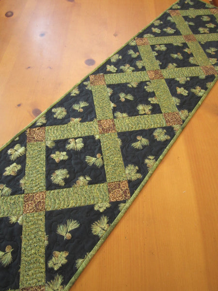 Quilted Table Runner with Pine Cones Home Decor