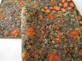 Fall Quilted Table Runner with Leaves and Pine Cones