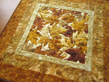 Table Topper Quilted Gold Rust and Brown Leaves