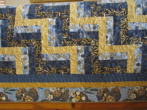 Asian Inspired Quilt in Blue and Gold