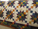 Batik Handmade Quilt using Blue, Green, Purple and Orange Colors