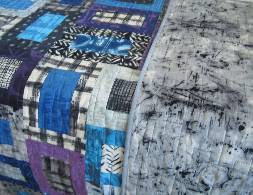 Modern Geometric Quilt In Purple Blue Gray And Black Patchwork