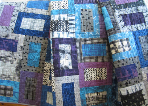 Modern Geometric Quilt in Purple, Blue, Gray and Black