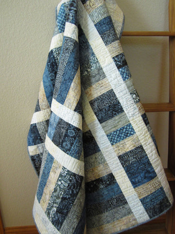 Batik Quilt in Blue Gray and Tan