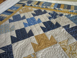 Patchwork Handmade Quilt in Blue and Gold