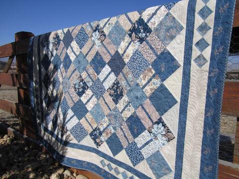 Blue and Tan Traditional Floral Patchwork Quilt