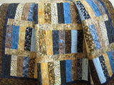 Batik Quilt in Stacked Strips Design in Blue, Brown and Tan