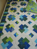 Patchwork Quilt in Bright Blue and Green Card Trick Quilt