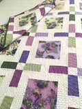 Floral Quilt in Purple and Green