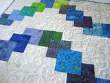 Patchwork Batik Quilt Featuring Blue, Turquoise, Purple and Green Colors