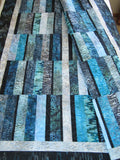 Batik Handmade Quilt in Ocean Colors