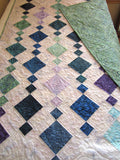 Handmade Quilt in Blue Purple and Green Batiks