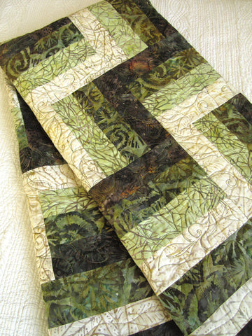 Batik Quilt using Rail Fence Block