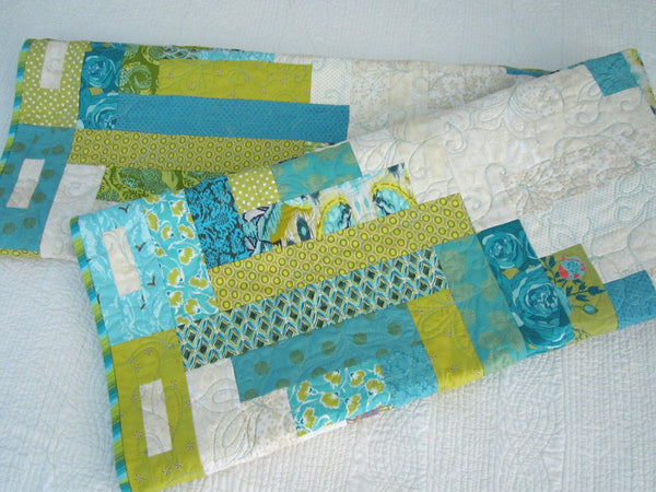 Green And Blue Patchwork Quilt Patchwork Mountain