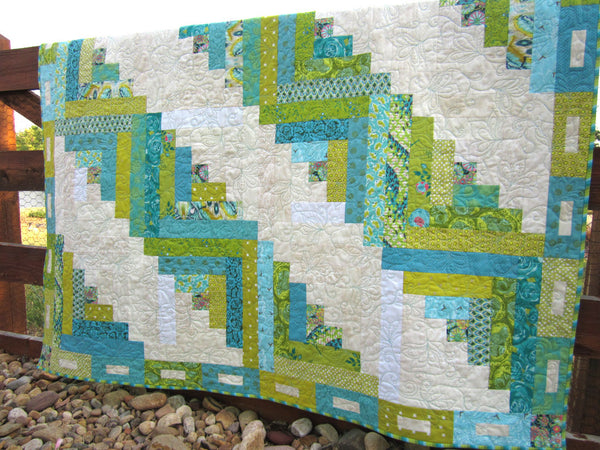 Green and Blue Patchwork Quilt